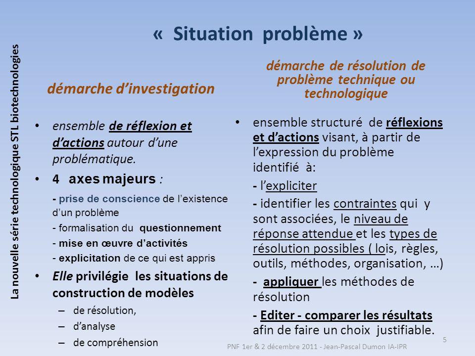 « Situation problème » démarche d'investigation