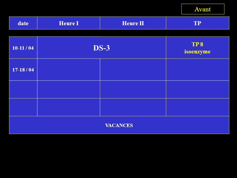 3 DS-3 Avant date Heure I Heure II TP TP 8 isoenzyme 10-11 / 04