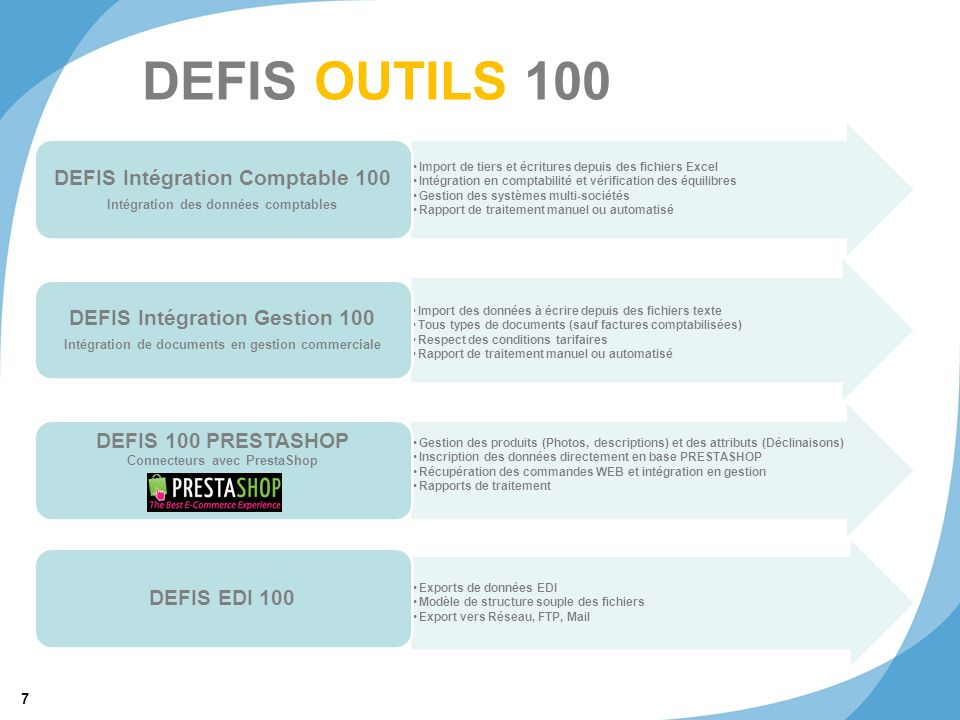 DEFIS OUTILS 100 DEFIS Intégration Comptable 100
