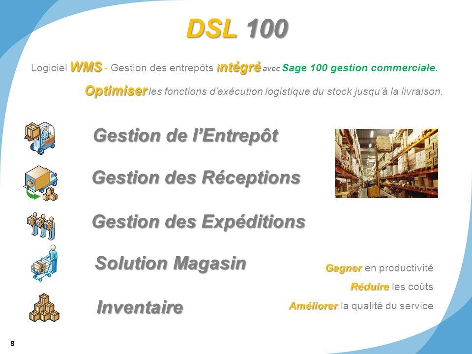 DSL 100 Gestion de l'Entrepôt Gestion des Réceptions