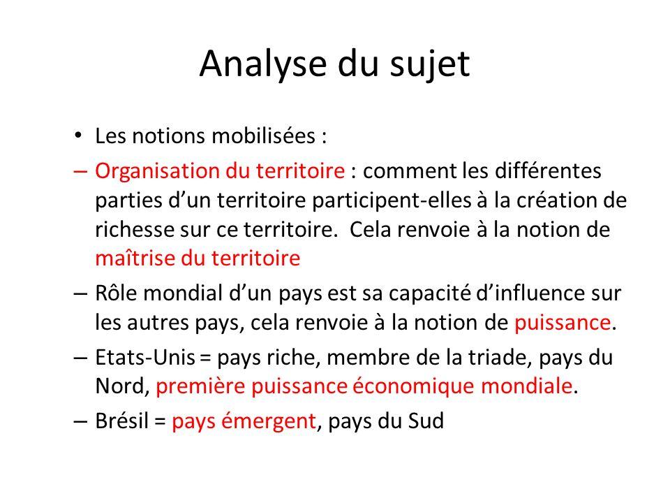 Analyse du sujet Les notions mobilisées :