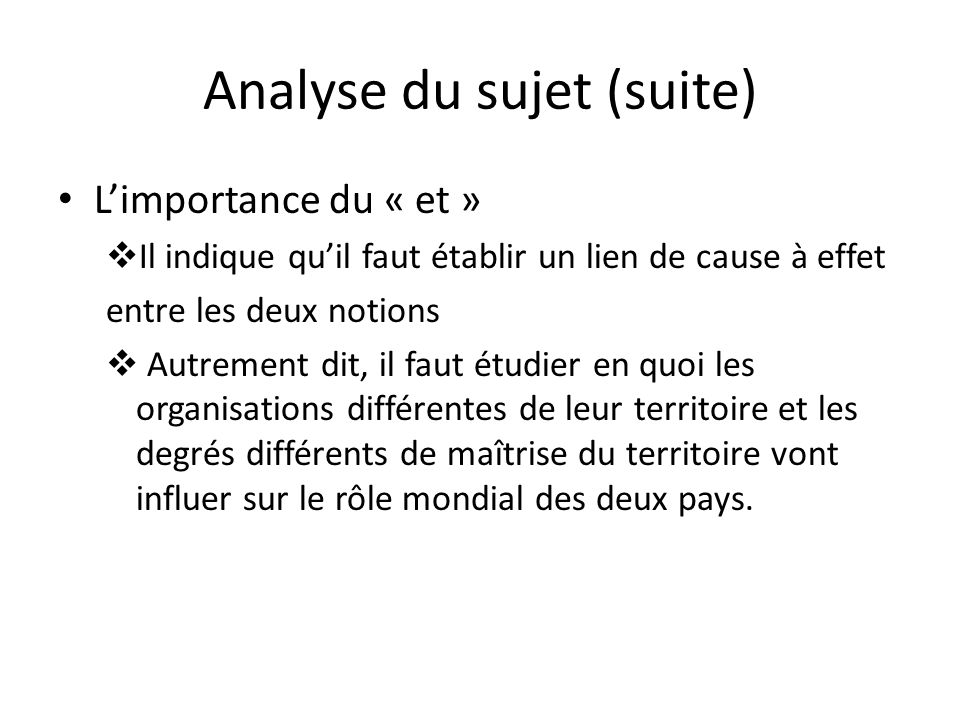 Analyse du sujet (suite)