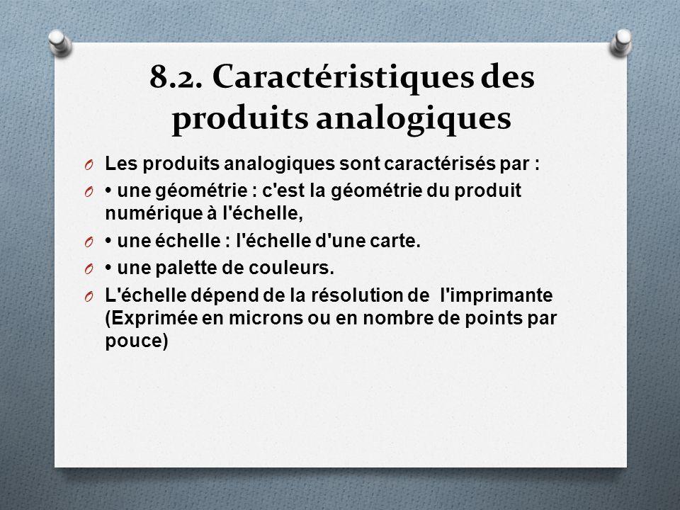 8.2. Caractéristiques des produits analogiques