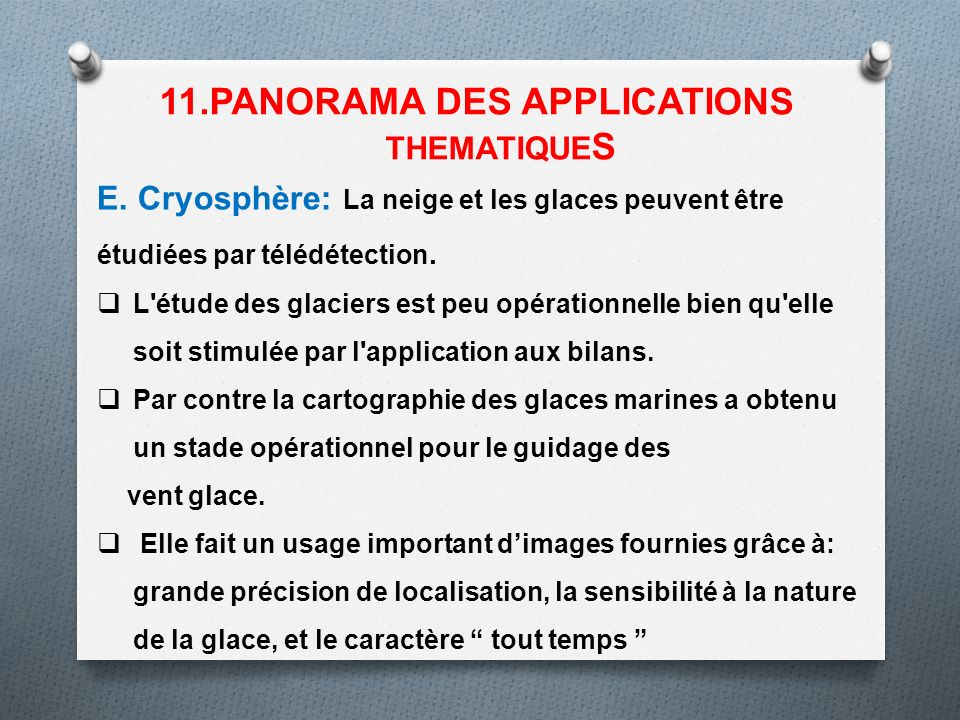 11.PANORAMA DES APPLICATIONS THEMATIQUES