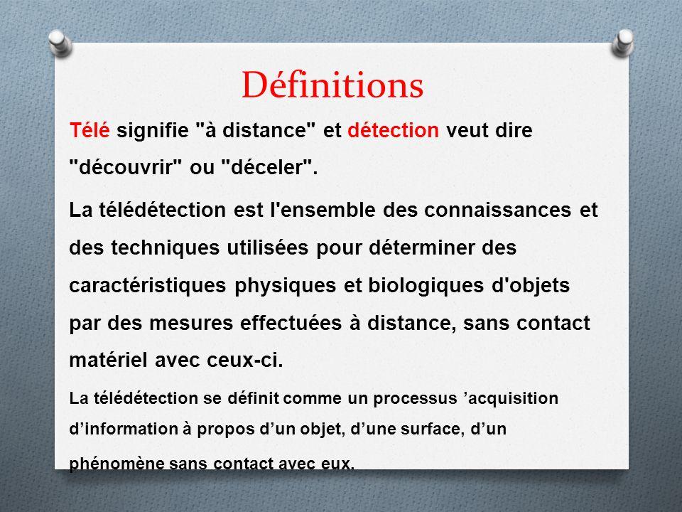 Définitions Télé signifie à distance et détection veut dire découvrir ou déceler .