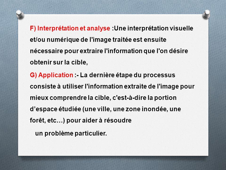 F) Interprétation et analyse :Une interprétation visuelle et/ou numérique de l image traitée est ensuite nécessaire pour extraire l information que l on désire obtenir sur la cible,