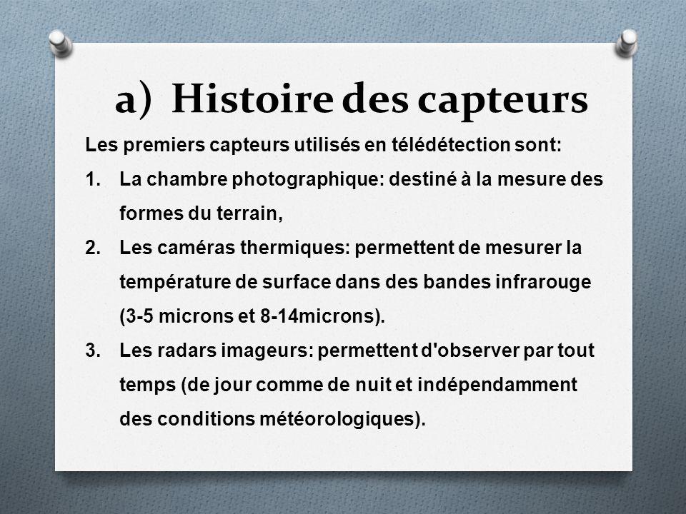 Histoire des capteurs Les premiers capteurs utilisés en télédétection sont: La chambre photographique: destiné à la mesure des formes du terrain,