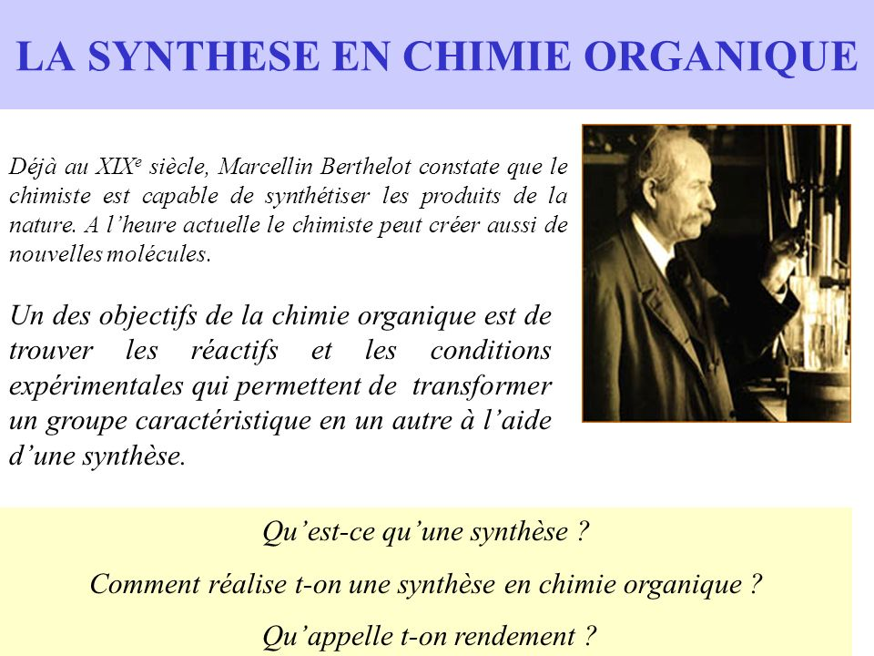 LA SYNTHESE EN CHIMIE ORGANIQUE