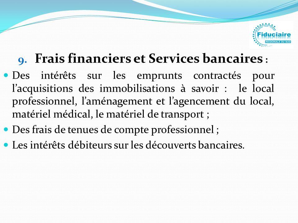 Frais financiers et Services bancaires :