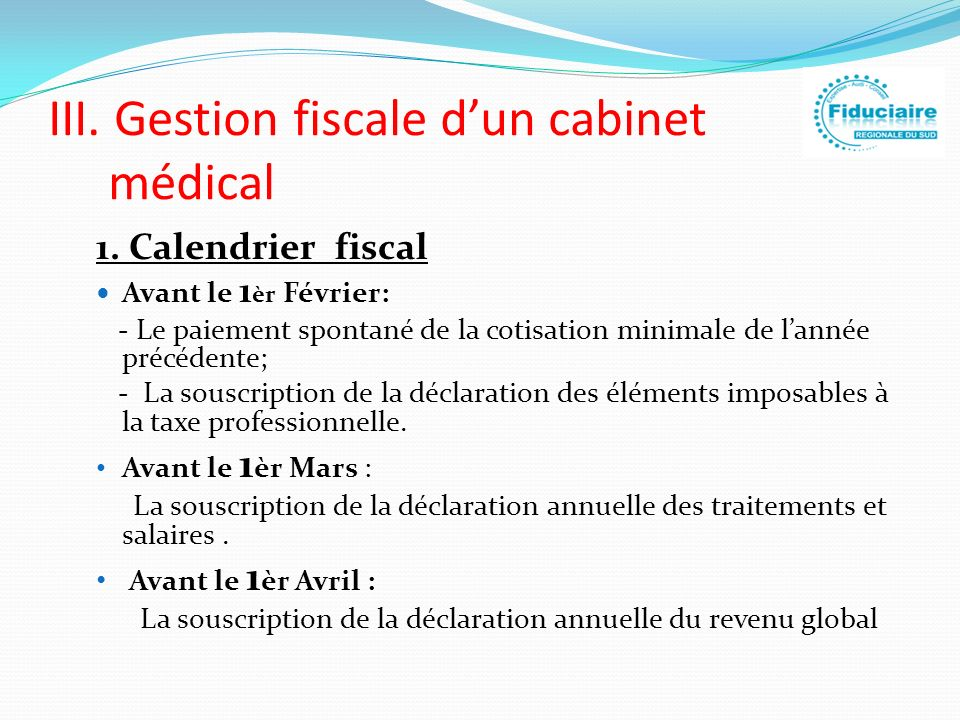 III. Gestion fiscale d'un cabinet médical