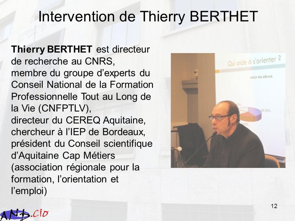 Intervention de Thierry BERTHET