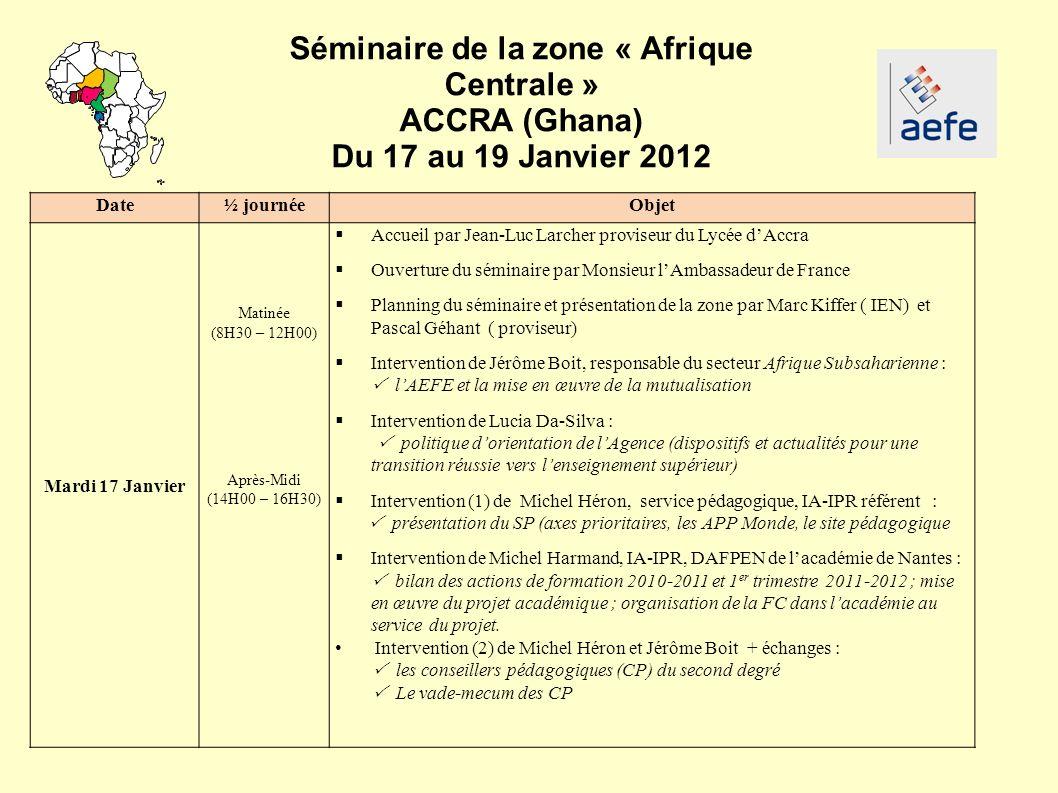 Séminaire de la zone « Afrique Centrale »