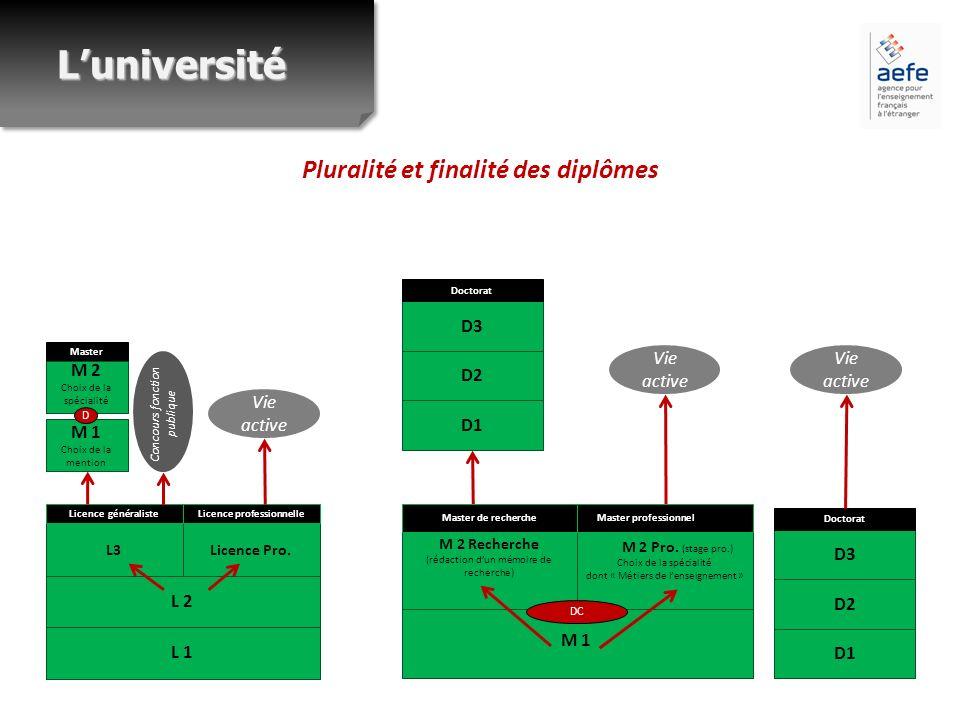 Pluralité et finalité des diplômes