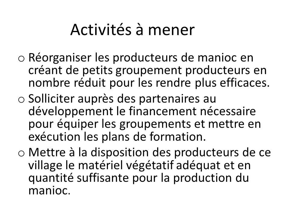 Activités à mener Réorganiser les producteurs de manioc en créant de petits groupement producteurs en nombre réduit pour les rendre plus efficaces.