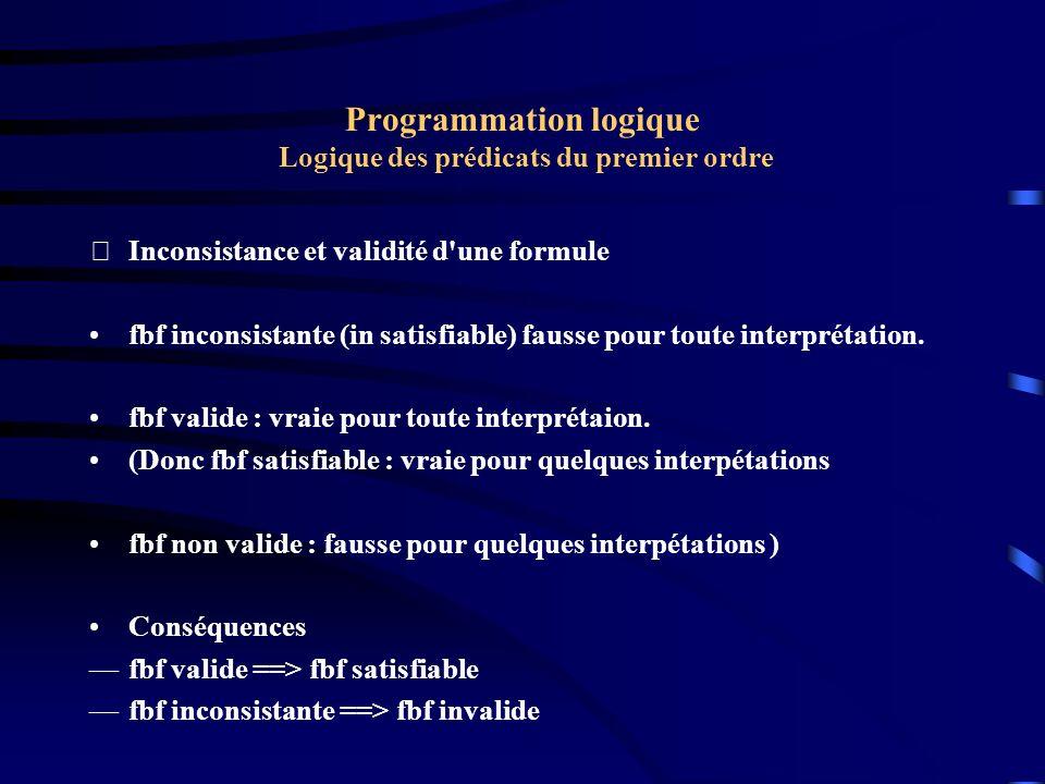 Programmation logique Logique des prédicats du premier ordre
