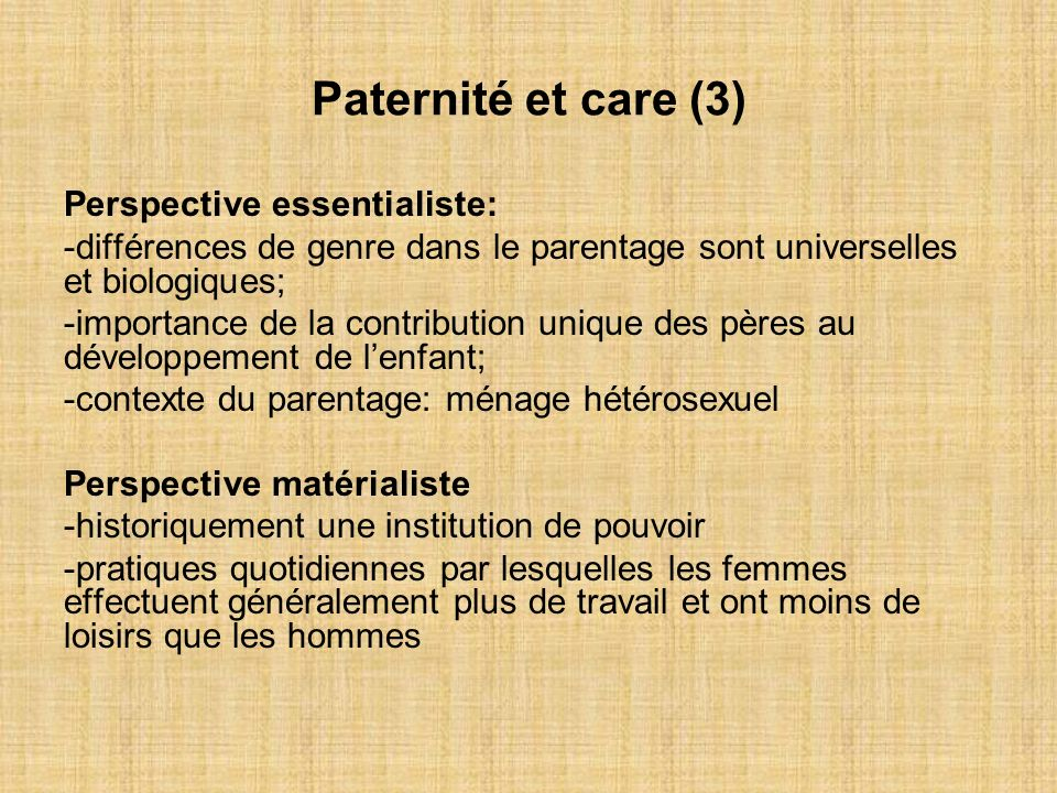 Paternité et care (3) Perspective essentialiste: