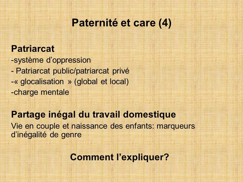 Paternité et care (4) Patriarcat Partage inégal du travail domestique