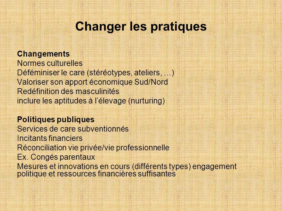 Changer les pratiques Changements Normes culturelles