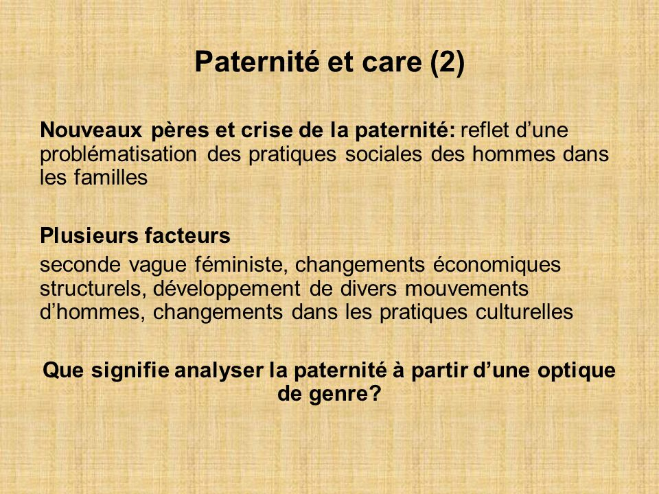 Que signifie analyser la paternité à partir d'une optique de genre