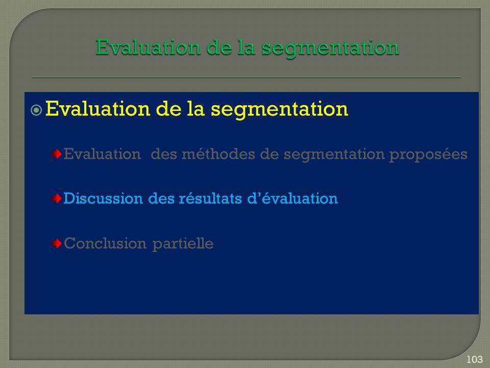 Evaluation de la segmentation