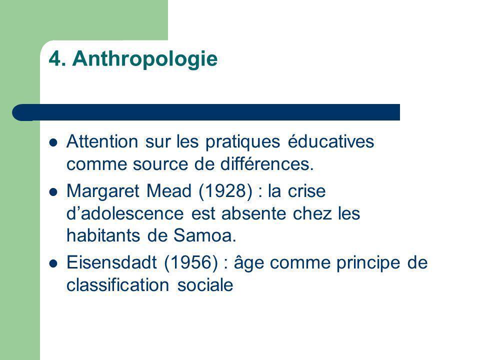 4. Anthropologie Attention sur les pratiques éducatives comme source de différences.