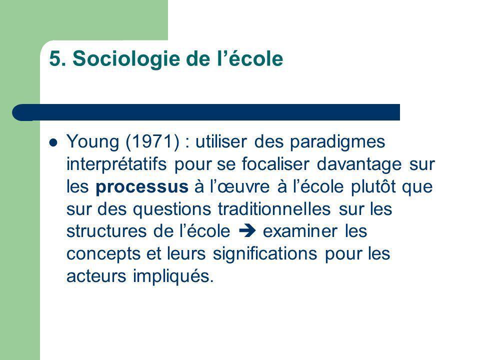 5. Sociologie de l'école