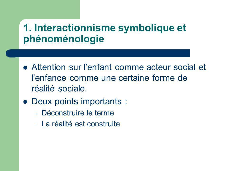 1. Interactionnisme symbolique et phénoménologie