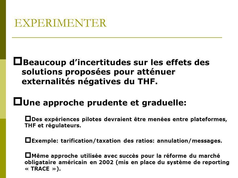 EXPERIMENTER Beaucoup d'incertitudes sur les effets des solutions proposées pour atténuer externalités négatives du THF.
