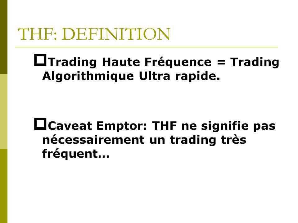 THF: DEFINITION Trading Haute Fréquence = Trading Algorithmique Ultra rapide.