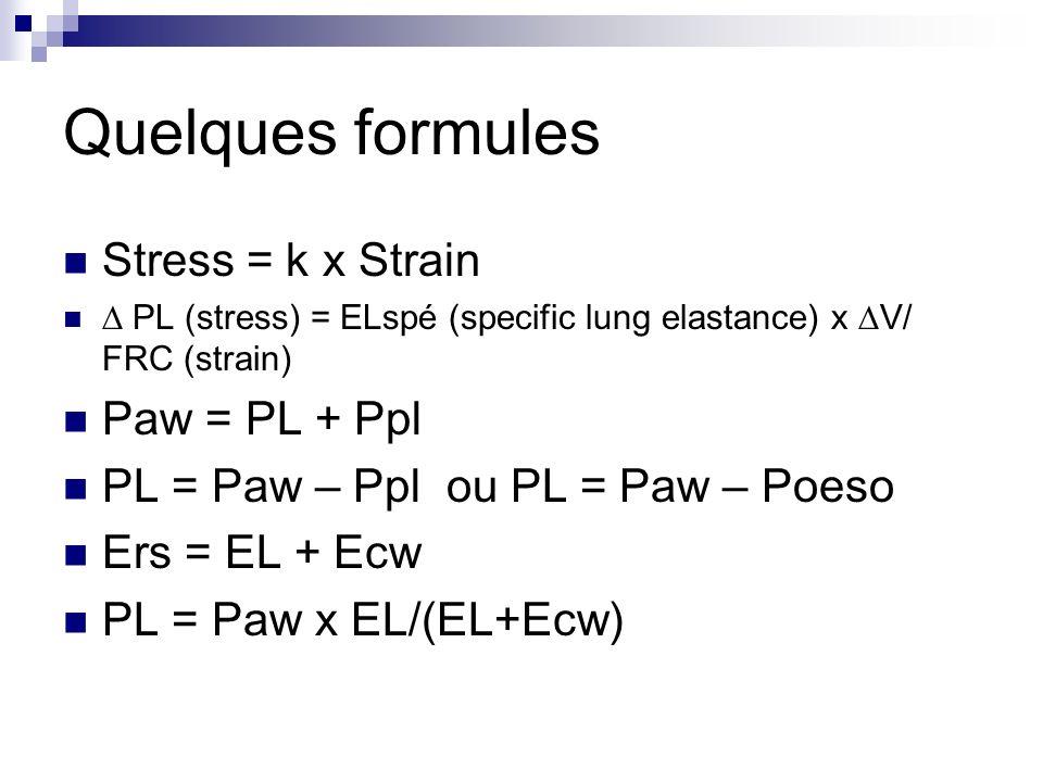 Quelques formules Stress = k x Strain Paw = PL + Ppl