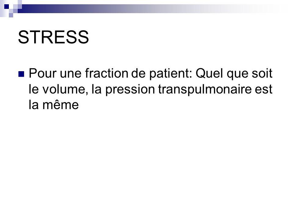 STRESS Pour une fraction de patient: Quel que soit le volume, la pression transpulmonaire est la même.