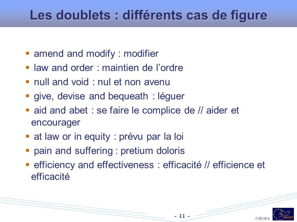 Les doublets : différents cas de figure