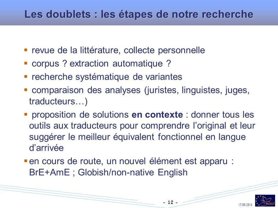 Les doublets : les étapes de notre recherche