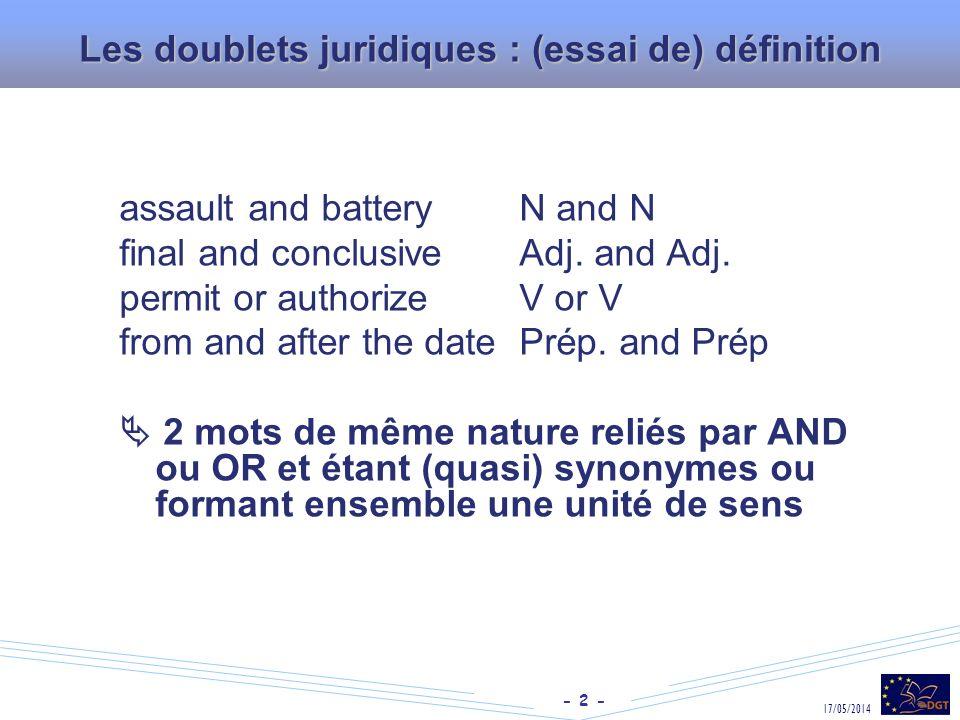 Les doublets juridiques : (essai de) définition