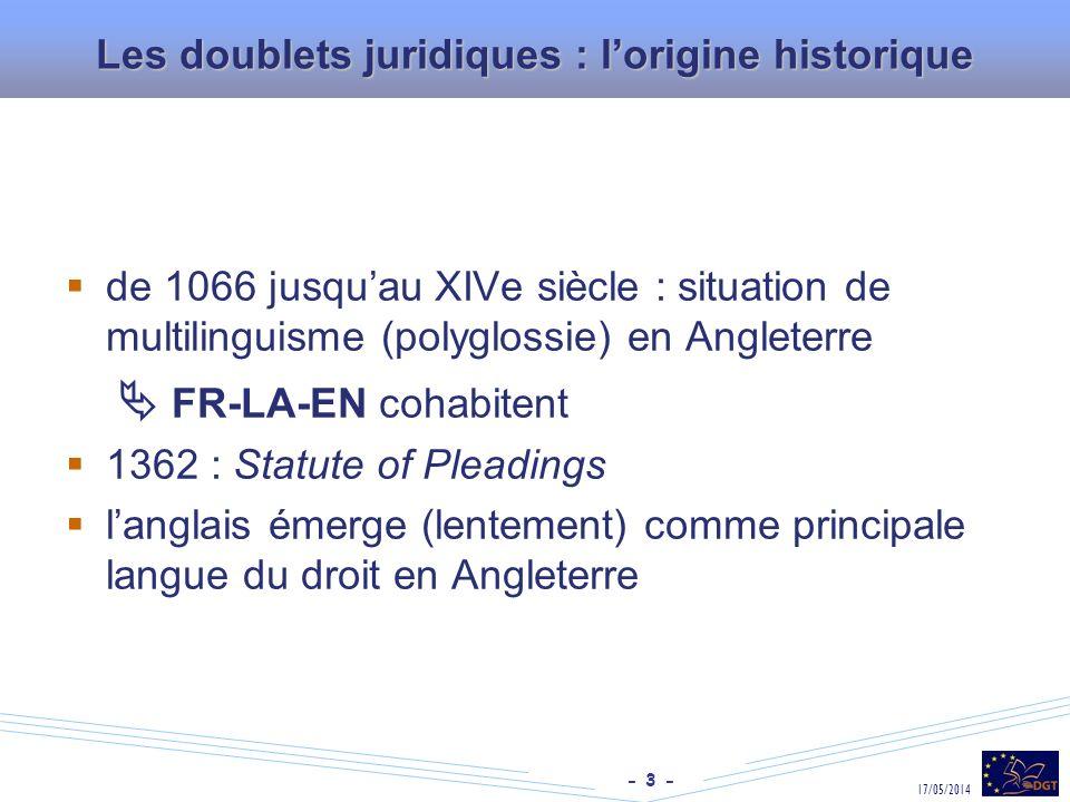 Les doublets juridiques : l'origine historique