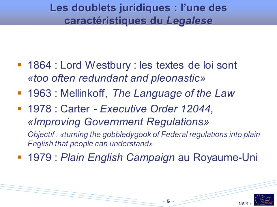 Les doublets juridiques : l'une des caractéristiques du Legalese