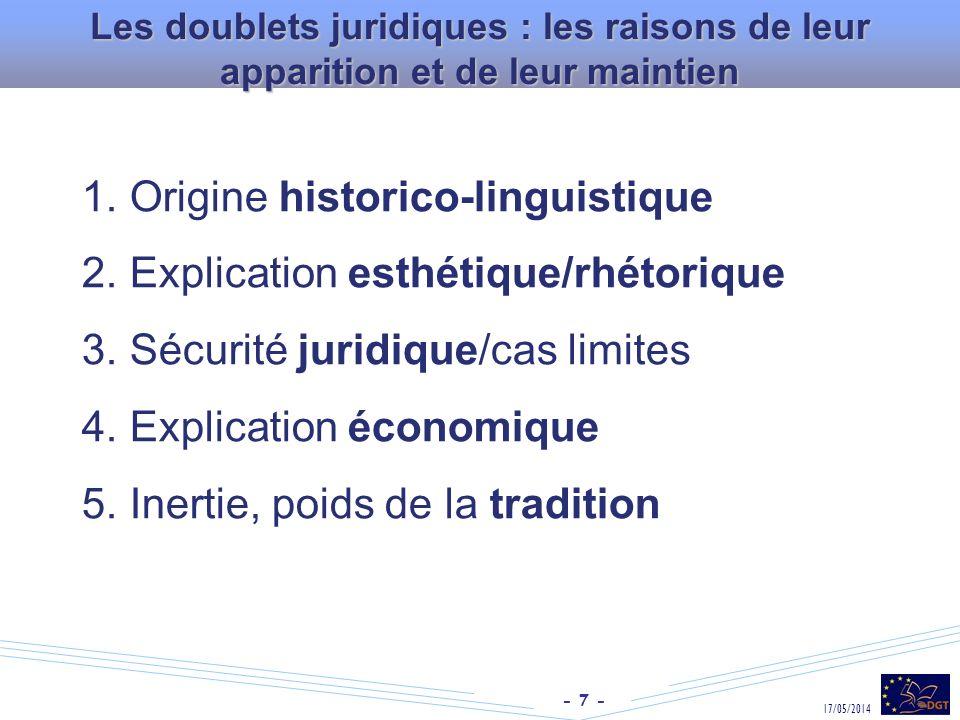 Origine historico-linguistique Explication esthétique/rhétorique