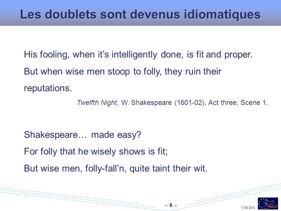 Les doublets sont devenus idiomatiques