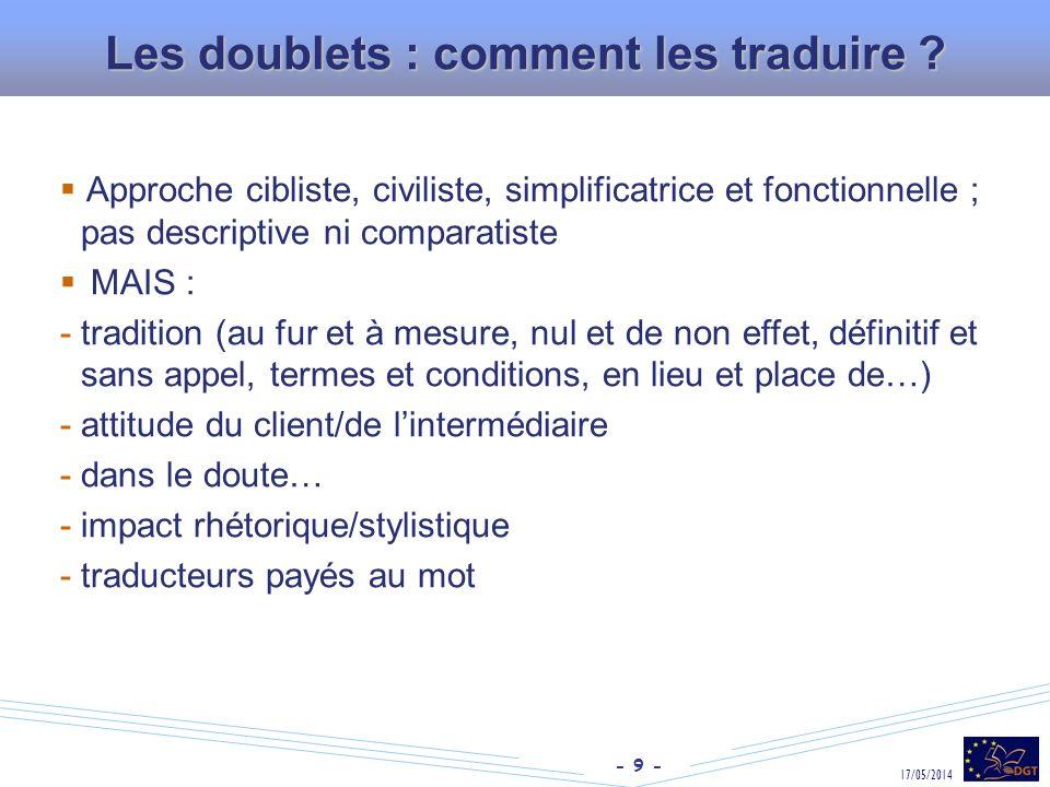 Les doublets : comment les traduire