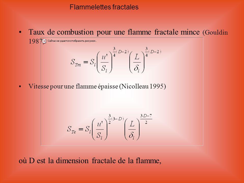 Taux de combustion pour une flamme fractale mince (Gouldin 1987)