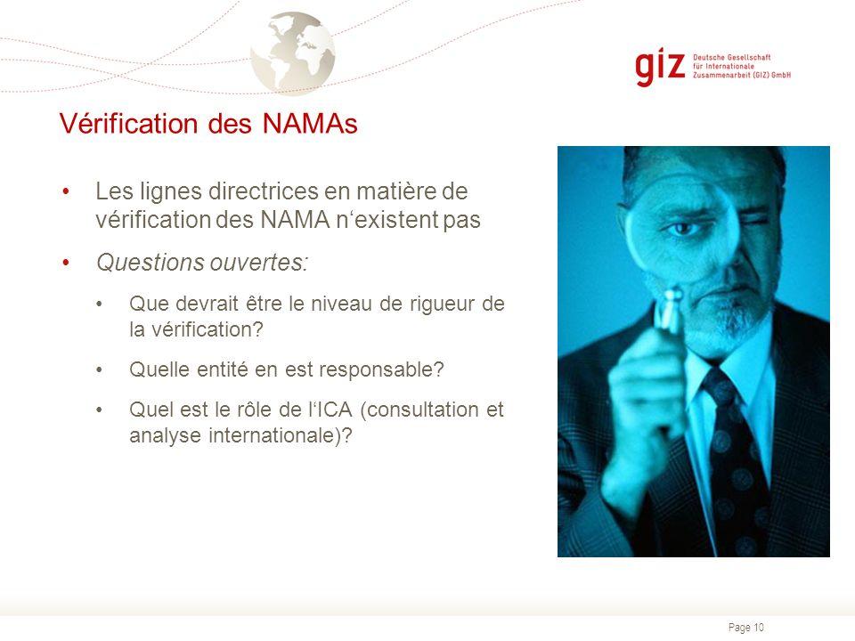 Vérification des NAMAs