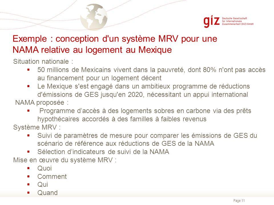 Exemple : conception d un système MRV pour une NAMA relative au logement au Mexique