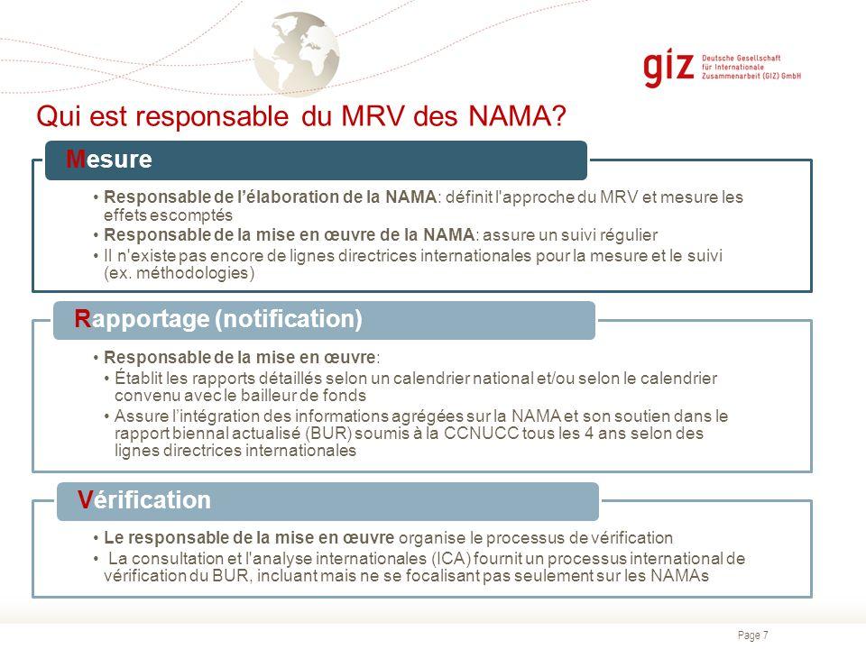 Qui est responsable du MRV des NAMA