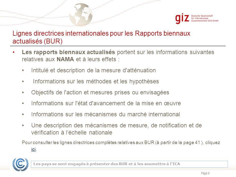 Lignes directrices internationales pour les Rapports biennaux actualisés (BUR)