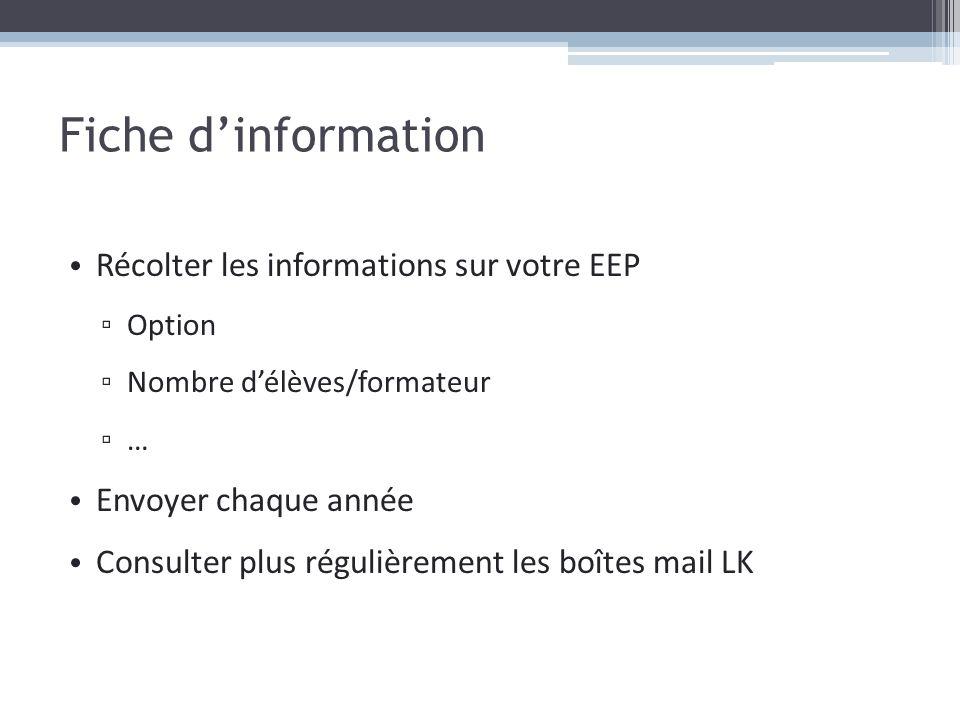 Fiche d'information Récolter les informations sur votre EEP