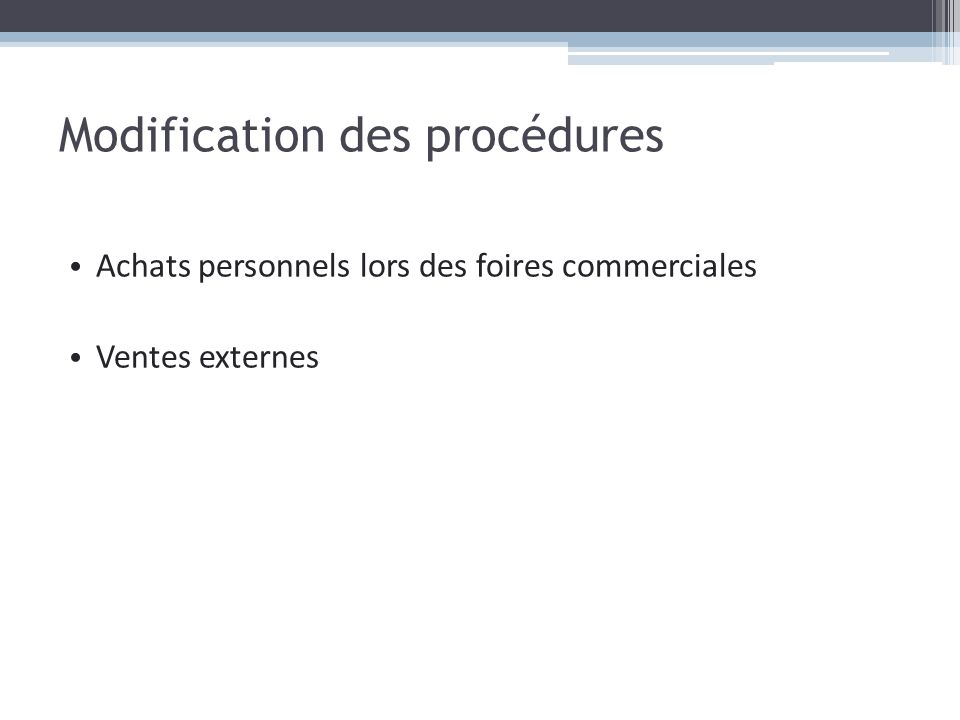 Modification des procédures