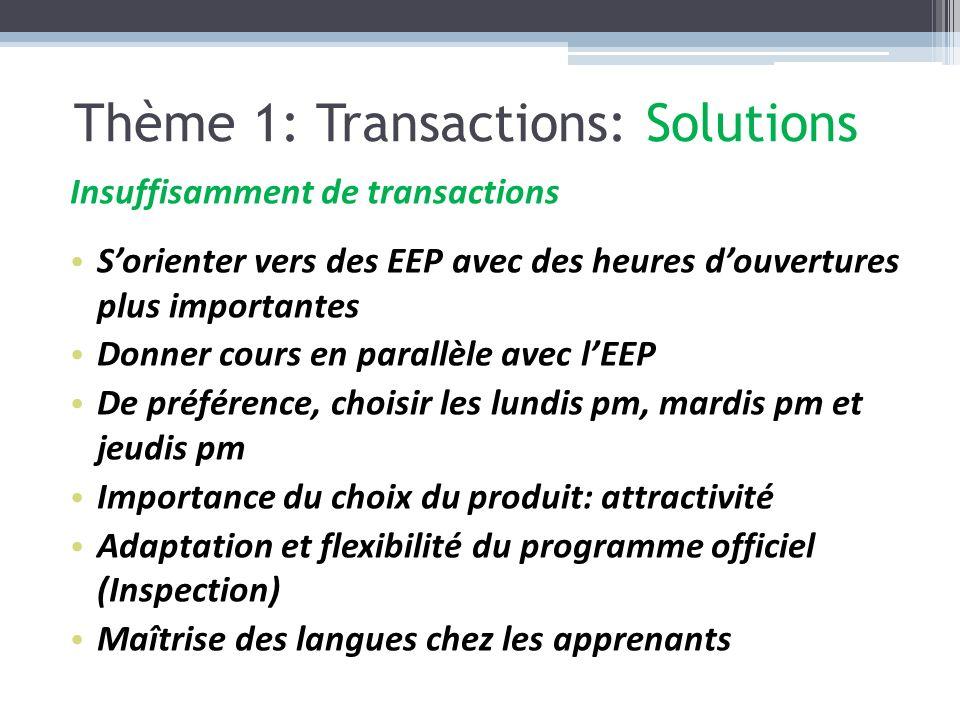 Thème 1: Transactions: Solutions