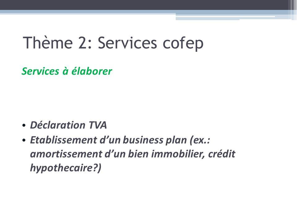 Thème 2: Services cofep Services à élaborer Déclaration TVA