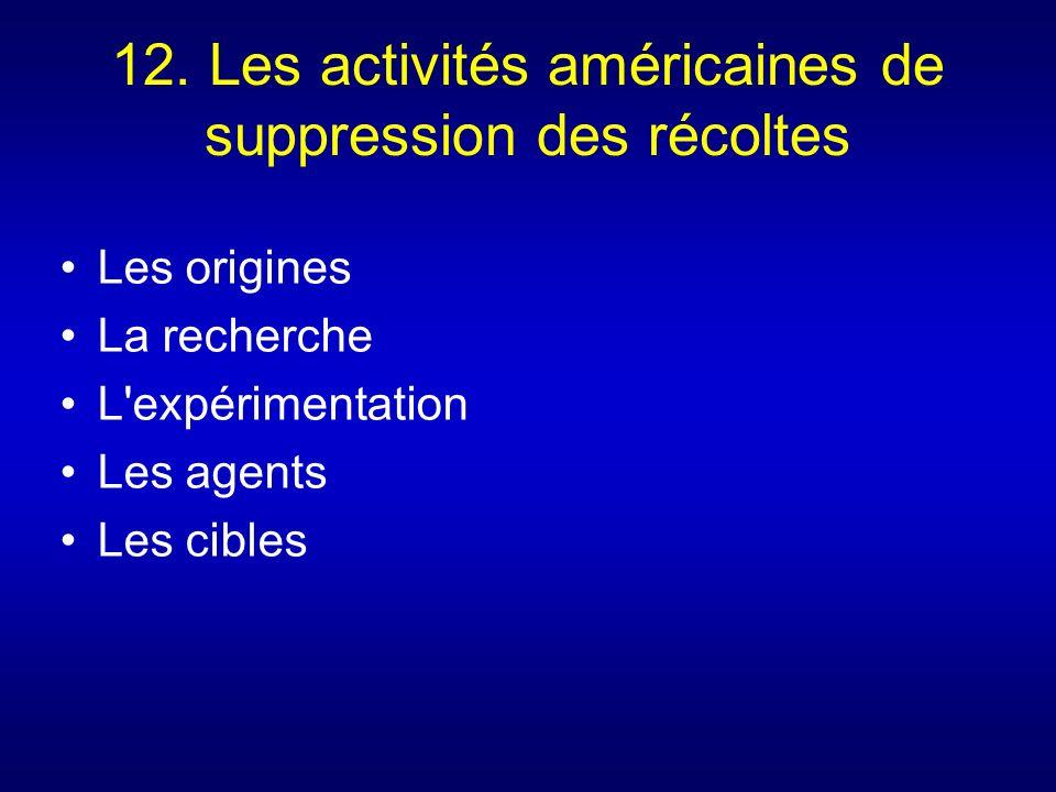 12. Les activités américaines de suppression des récoltes