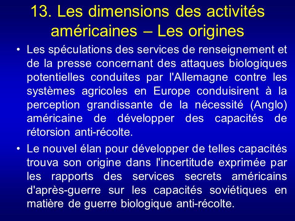 13. Les dimensions des activités américaines – Les origines